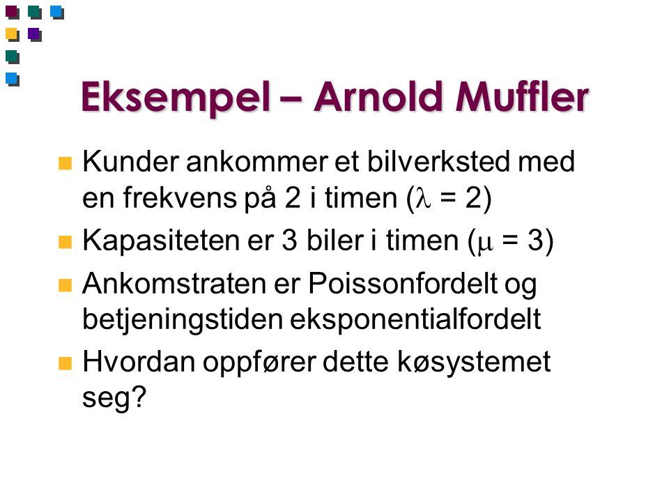 Eksempel – Arnold Muffler n Kunder ankommer et bilverksted med en frekvens på 2 i timen ( = 2) n Kapasiteten er 3 biler i timen (  = 3) n Ankomstraten er Poissonfordelt og betjeningstiden eksponentialfordelt n Hvordan oppfører dette køsystemet seg?