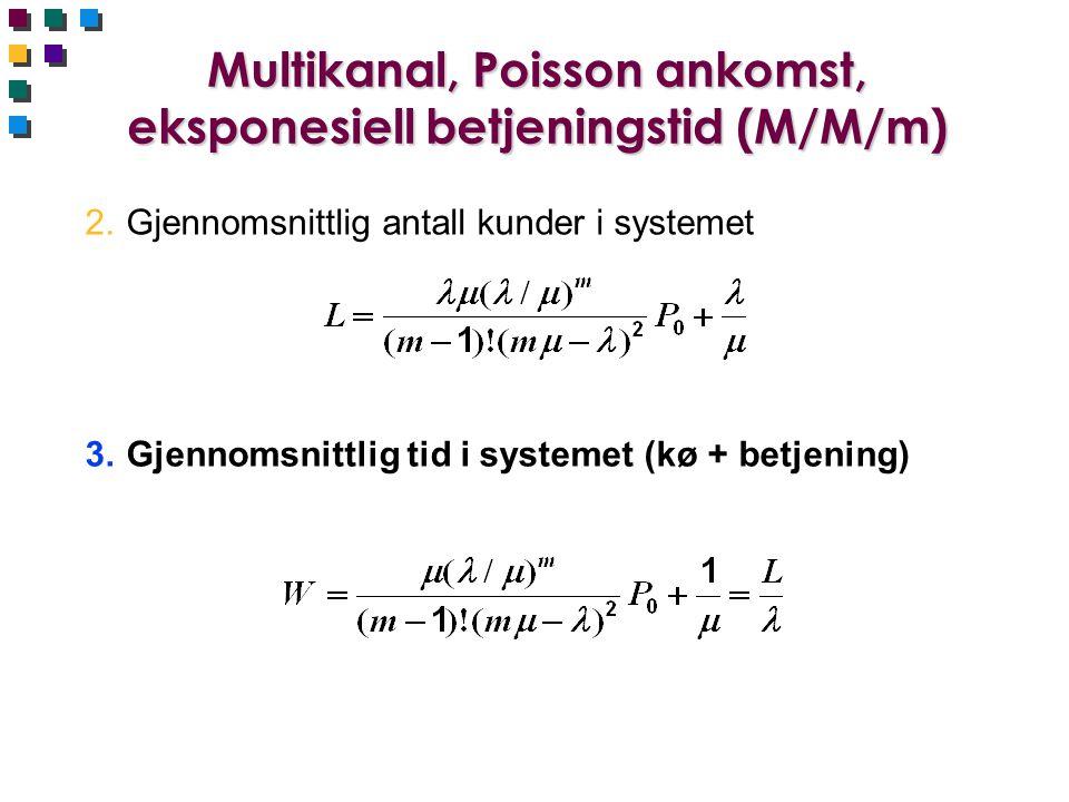 Multikanal, Poisson ankomst, eksponesiell betjeningstid (M/M/m) 2.Gjennomsnittlig antall kunder i systemet 3.Gjennomsnittlig tid i systemet (kø + betj