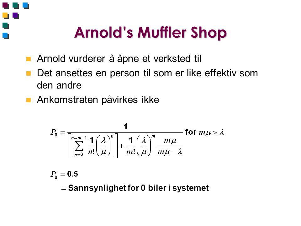 Arnold's Muffler Shop n Arnold vurderer å åpne et verksted til n Det ansettes en person til som er like effektiv som den andre n Ankomstraten påvirkes ikke  Sannsynlighet for 0 biler i systemet