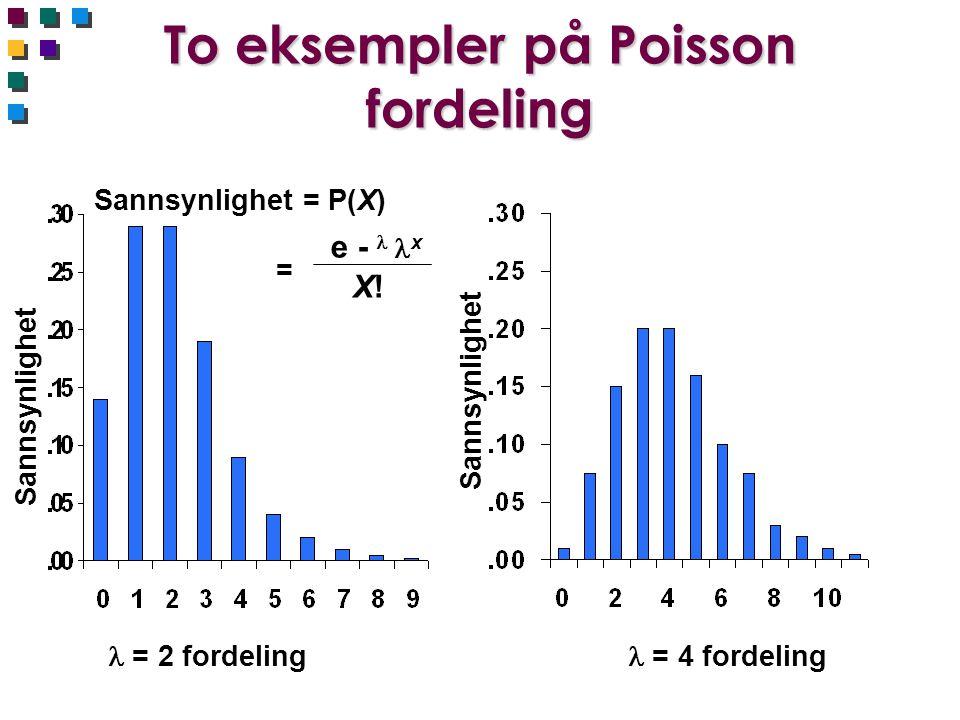To eksempler på Poisson fordeling = 2 fordeling = 4 fordeling Sannsynlighet Sannsynlighet = P(X) = e -  x X!X!