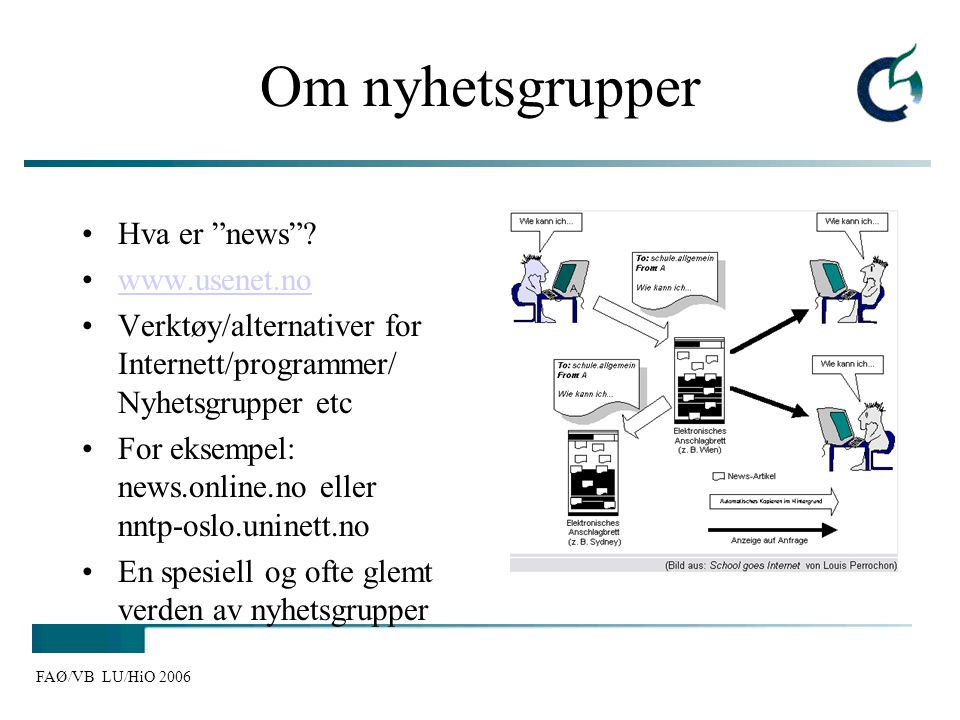 "FAØ/VB LU/HiO 2006 Om nyhetsgrupper Hva er ""news""? www.usenet.no Verktøy/alternativer for Internett/programmer/ Nyhetsgrupper etc For eksempel: news.o"