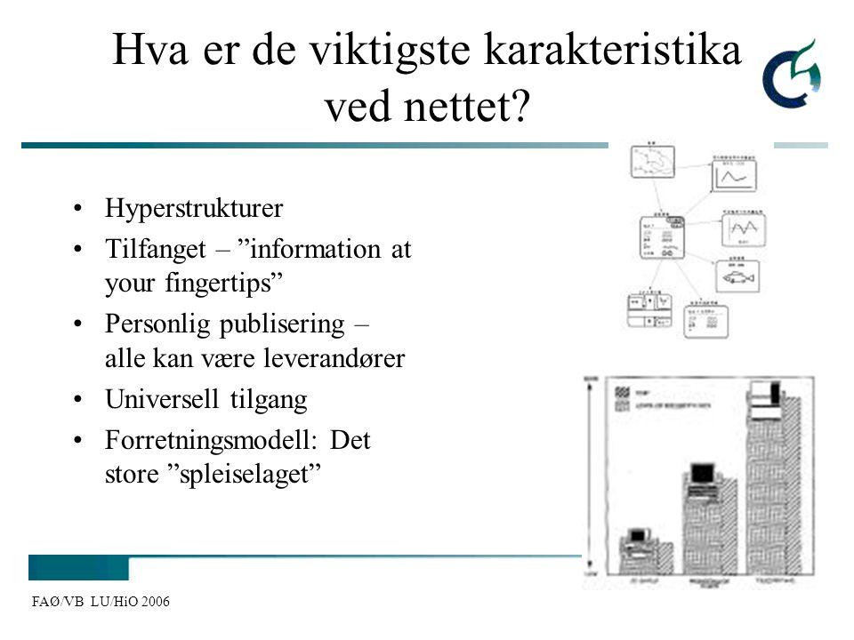 """FAØ/VB LU/HiO 2006 Hva er de viktigste karakteristika ved nettet? Hyperstrukturer Tilfanget – """"information at your fingertips"""" Personlig publisering –"""