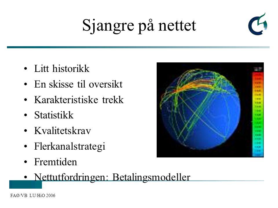 FAØ/VB LU/HiO 2006 Sjangre på nettet Litt historikk En skisse til oversikt Karakteristiske trekk Statistikk Kvalitetskrav Flerkanalstrategi Fremtiden