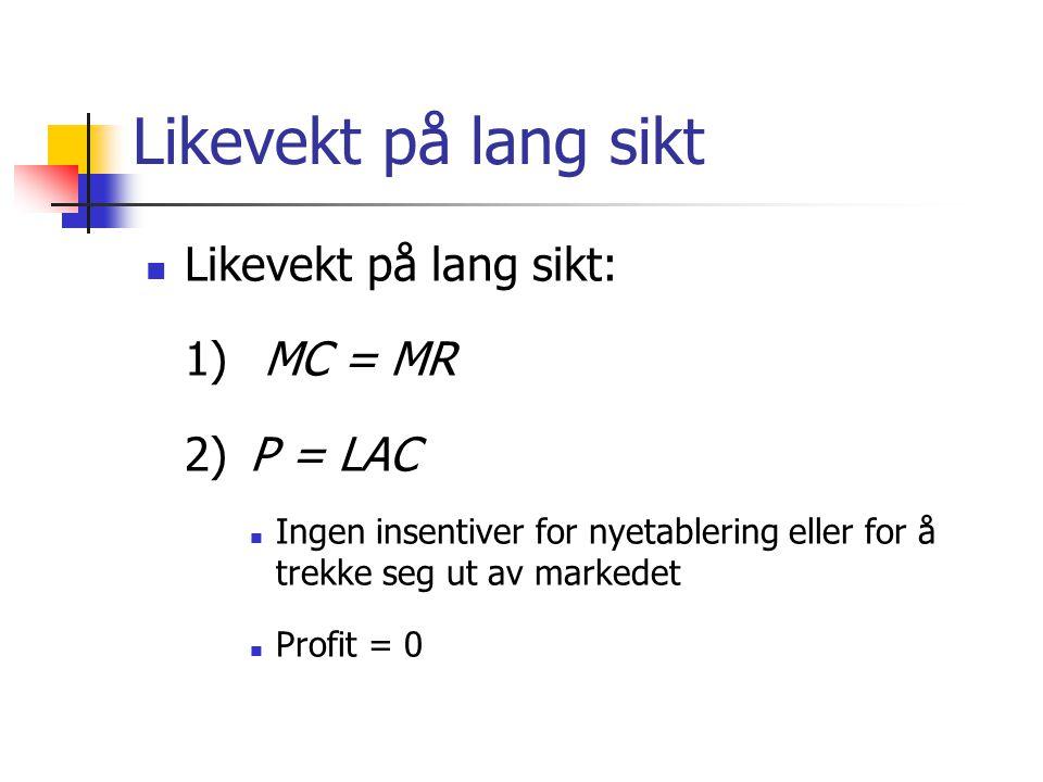 Likevekt på lang sikt Likevekt på lang sikt: 1) MC = MR 2)P = LAC Ingen insentiver for nyetablering eller for å trekke seg ut av markedet Profit = 0