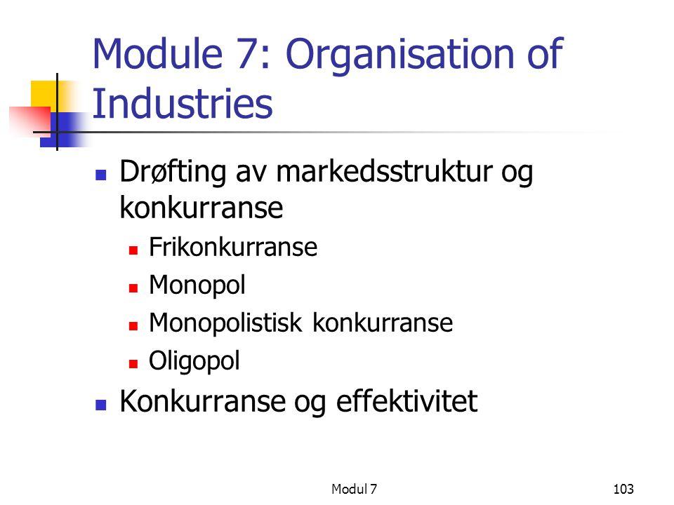 Modul 7103 Module 7: Organisation of Industries Drøfting av markedsstruktur og konkurranse Frikonkurranse Monopol Monopolistisk konkurranse Oligopol K