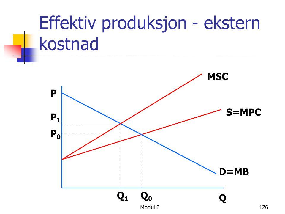 Modul 8126 Effektiv produksjon - ekstern kostnad S=MPC D=MB P Q MSC P 1 P 0 Q 1 Q 0