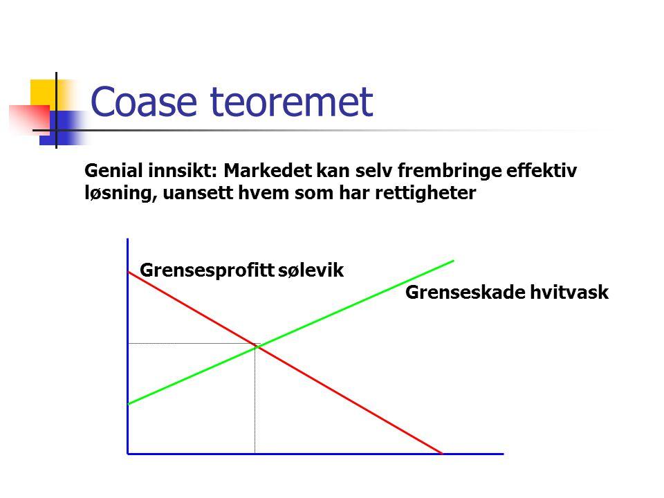 Coase teoremet Grenseskade hvitvask Grensesprofitt sølevik Genial innsikt: Markedet kan selv frembringe effektiv løsning, uansett hvem som har rettigh