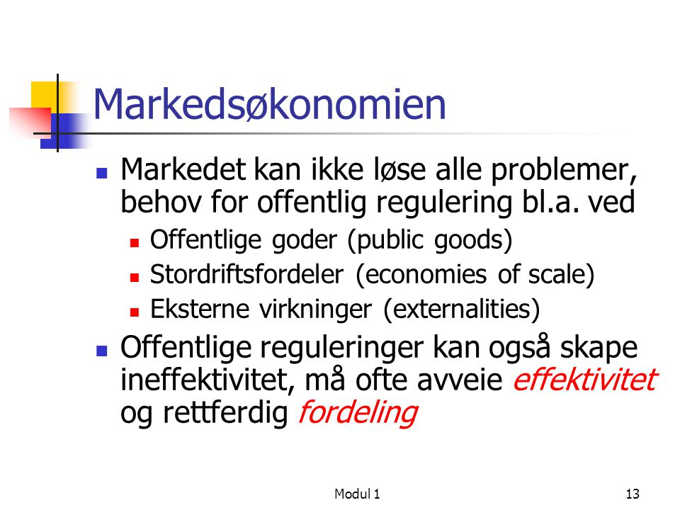 Modul 113 Markedsøkonomien Markedet kan ikke løse alle problemer, behov for offentlig regulering bl.a. ved Offentlige goder (public goods) Stordriftsf