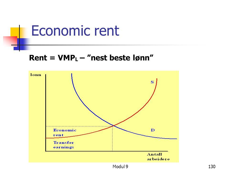 "Modul 9130 Economic rent Rent = VMP L – ""nest beste lønn"""
