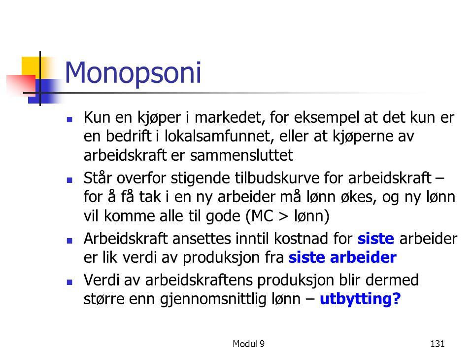 Modul 9131 Monopsoni Kun en kjøper i markedet, for eksempel at det kun er en bedrift i lokalsamfunnet, eller at kjøperne av arbeidskraft er sammenslut