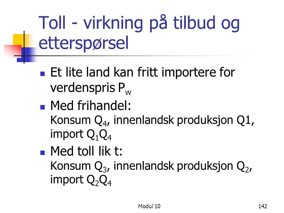 Modul 10142 Toll - virkning på tilbud og etterspørsel Et lite land kan fritt importere for verdenspris P w Med frihandel: Konsum Q 4, innenlandsk prod