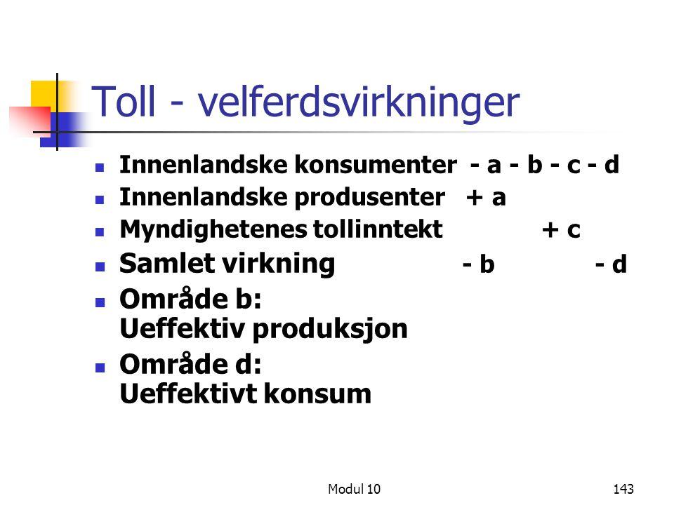 Modul 10143 Toll - velferdsvirkninger Innenlandske konsumenter - a - b - c - d Innenlandske produsenter + a Myndighetenes tollinntekt + c Samlet virkn