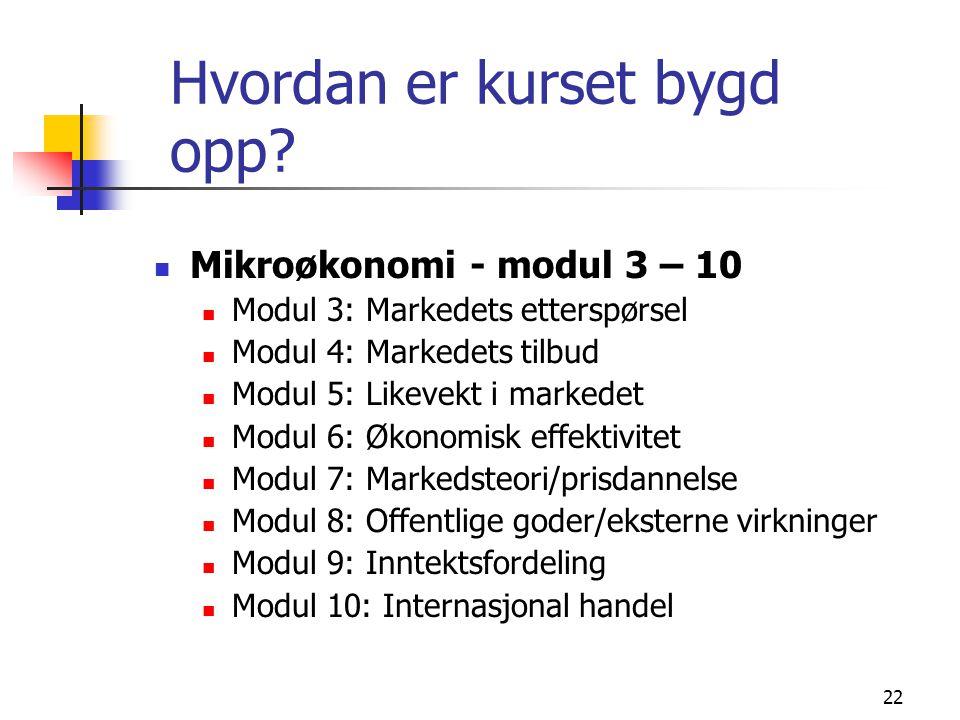 22 Hvordan er kurset bygd opp? Mikroøkonomi - modul 3 – 10 Modul 3: Markedets etterspørsel Modul 4: Markedets tilbud Modul 5: Likevekt i markedet Modu