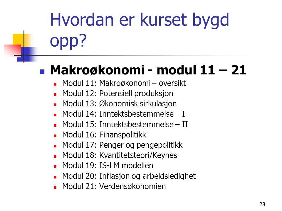 23 Hvordan er kurset bygd opp? Makroøkonomi - modul 11 – 21 Modul 11: Makroøkonomi – oversikt Modul 12: Potensiell produksjon Modul 13: Økonomisk sirk