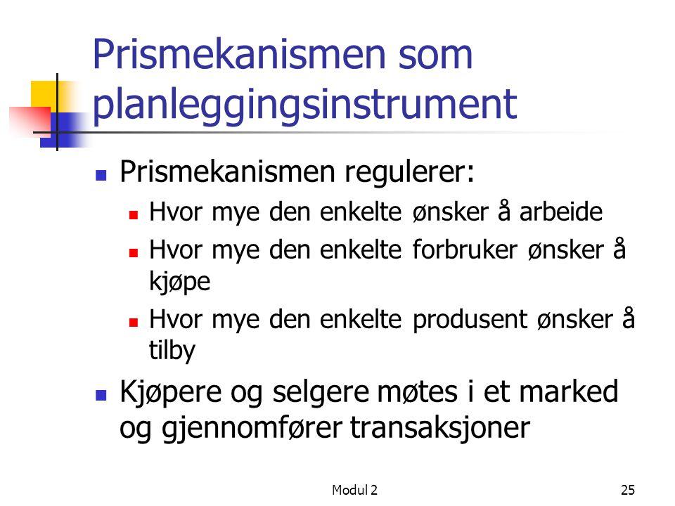 Modul 225 Prismekanismen som planleggingsinstrument Prismekanismen regulerer: Hvor mye den enkelte ønsker å arbeide Hvor mye den enkelte forbruker øns