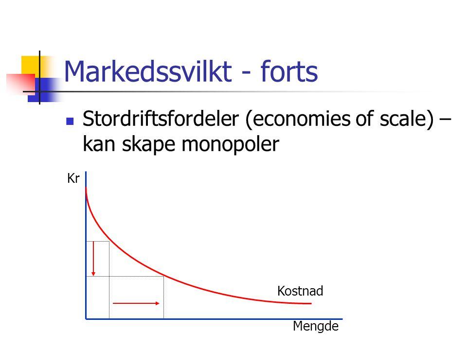 Markedssvilkt - forts Stordriftsfordeler (economies of scale) – kan skape monopoler Kr Mengde Kostnad