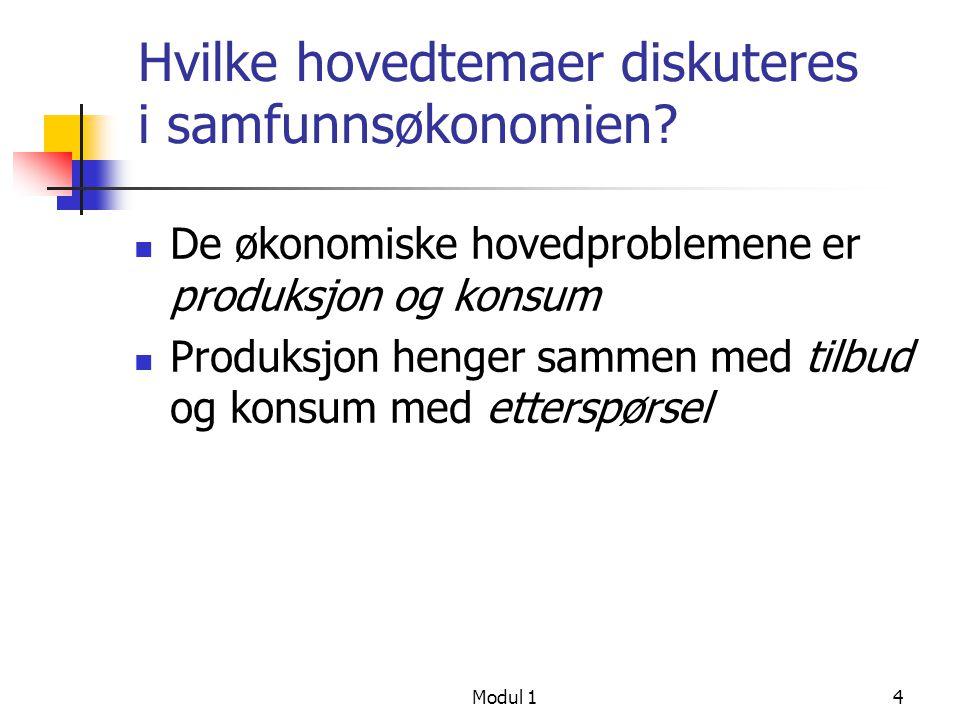Modul 14 Hvilke hovedtemaer diskuteres i samfunnsøkonomien? De økonomiske hovedproblemene er produksjon og konsum Produksjon henger sammen med tilbud