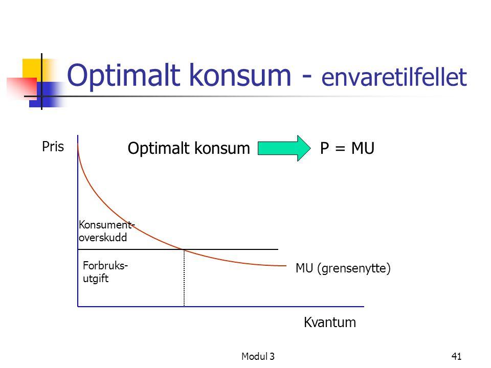 Modul 341 Optimalt konsum - envaretilfellet Kvantum Pris Konsument- overskudd Forbruks- utgift MU (grensenytte) Optimalt konsumP = MU