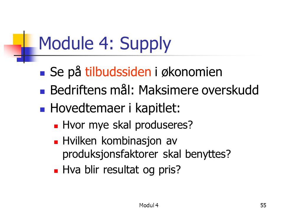 Modul 455 Module 4: Supply Se på tilbudssiden i økonomien Bedriftens mål: Maksimere overskudd Hovedtemaer i kapitlet: Hvor mye skal produseres? Hvilke