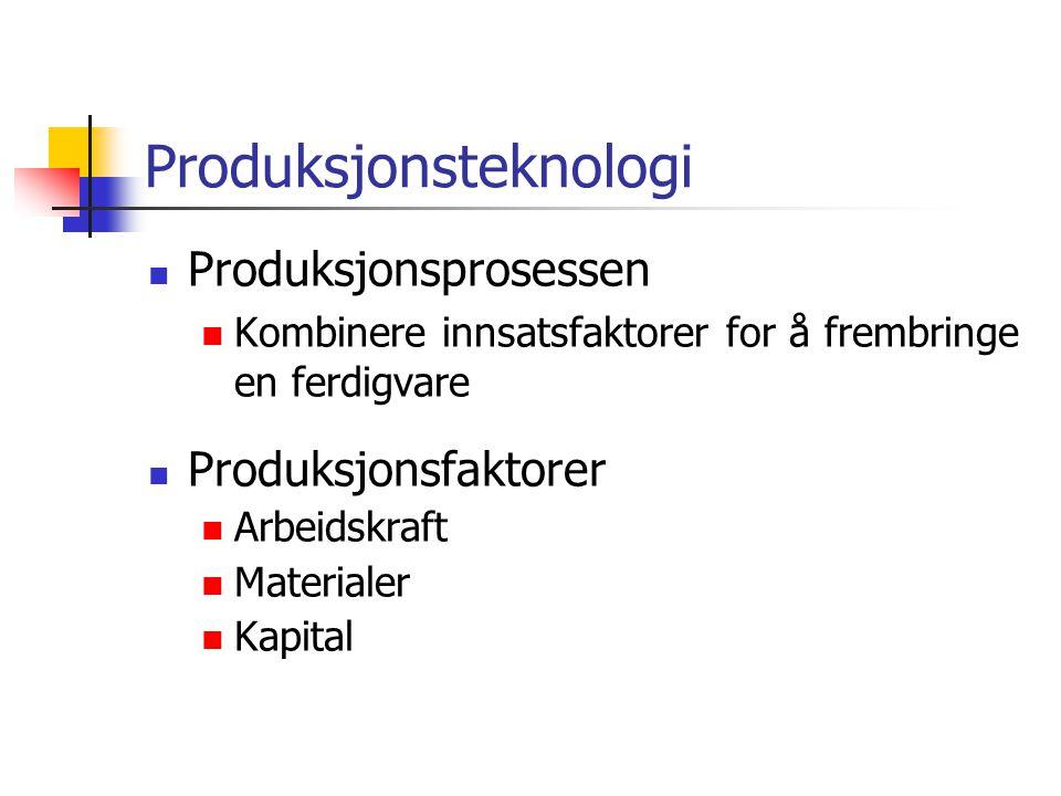 Produksjonsteknologi Produksjonsprosessen Kombinere innsatsfaktorer for å frembringe en ferdigvare Produksjonsfaktorer Arbeidskraft Materialer Kapital