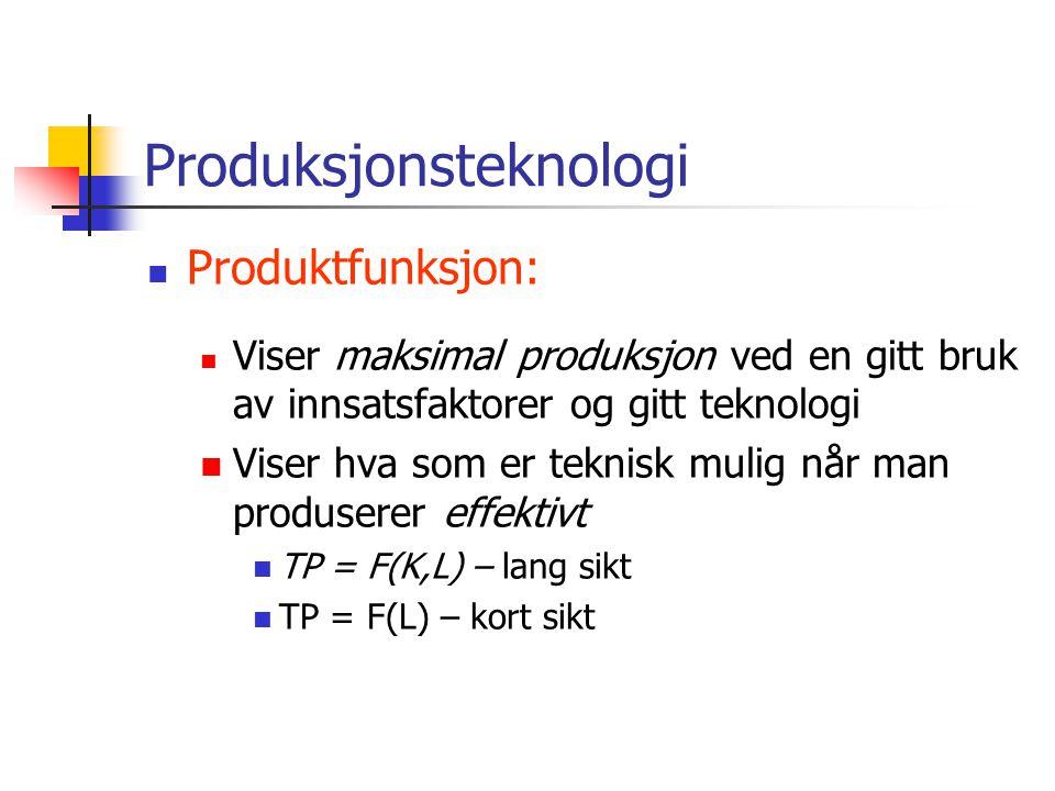Produksjonsteknologi Produktfunksjon: Viser maksimal produksjon ved en gitt bruk av innsatsfaktorer og gitt teknologi Viser hva som er teknisk mulig n