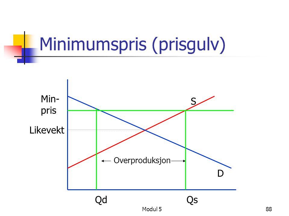 Modul 588 Minimumspris (prisgulv) Likevekt Min- pris S D Qd Qs Overproduksjon