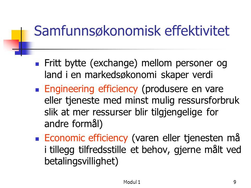 Modul 19 Samfunnsøkonomisk effektivitet Fritt bytte (exchange) mellom personer og land i en markedsøkonomi skaper verdi Engineering efficiency (produs