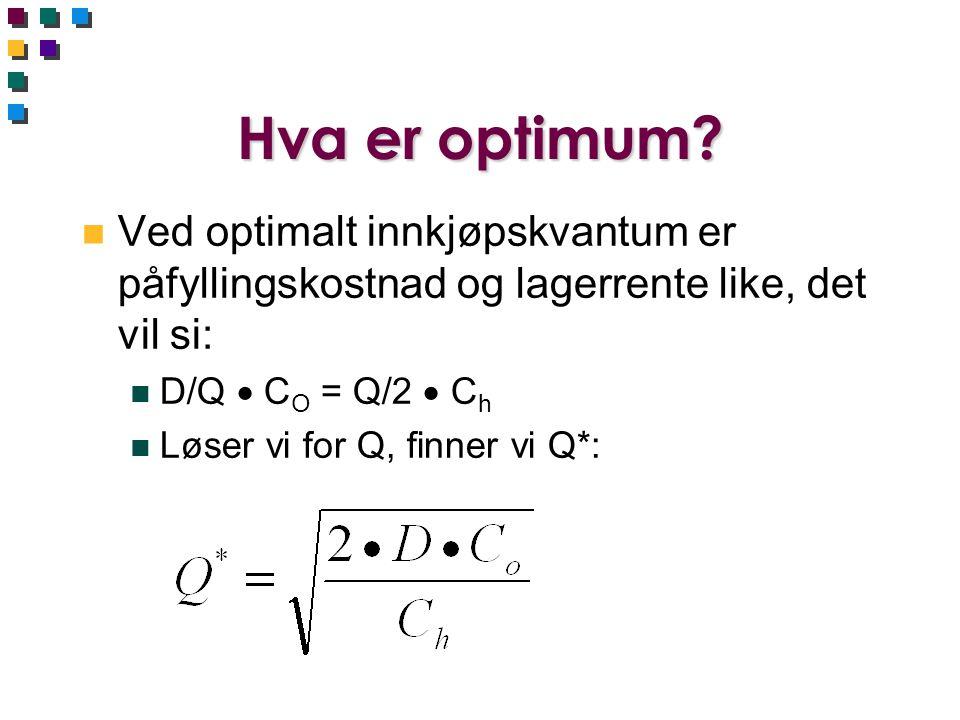 Hva er optimum? n Ved optimalt innkjøpskvantum er påfyllingskostnad og lagerrente like, det vil si: n D/Q  C O = Q/2  C h n Løser vi for Q, finner v
