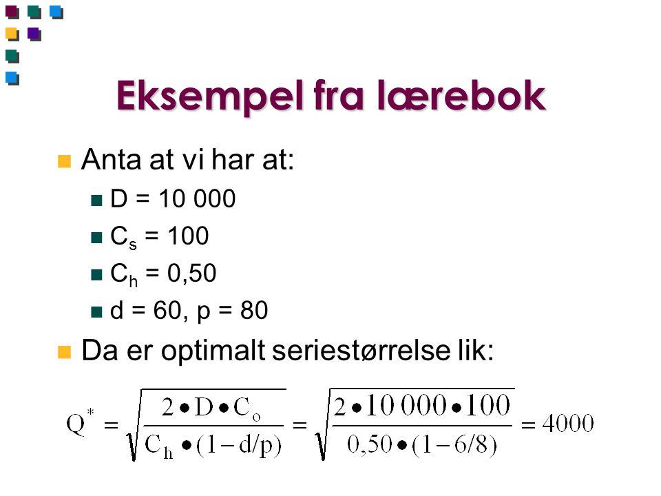 Eksempel fra lærebok n Anta at vi har at: n D = 10 000 n C s = 100 n C h = 0,50 n d = 60, p = 80 n Da er optimalt seriestørrelse lik: