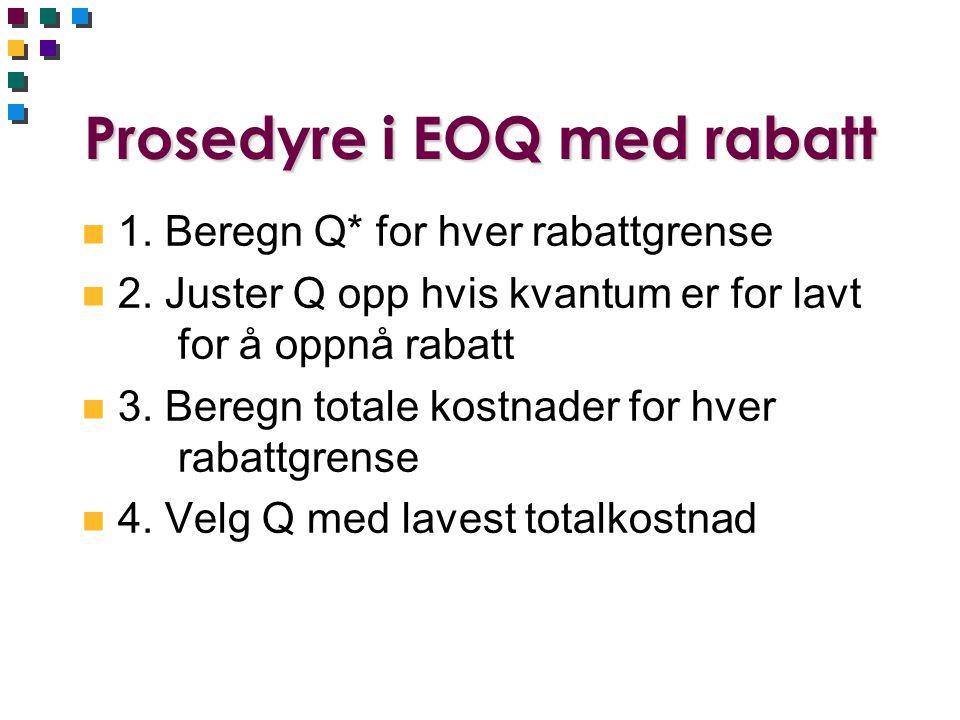 Prosedyre i EOQ med rabatt n 1. Beregn Q* for hver rabattgrense n 2. Juster Q opp hvis kvantum er for lavt for å oppnå rabatt n 3. Beregn totale kostn