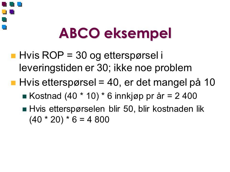 ABCO eksempel n Hvis ROP = 30 og etterspørsel i leveringstiden er 30; ikke noe problem n Hvis etterspørsel = 40, er det mangel på 10 n Kostnad (40 * 1