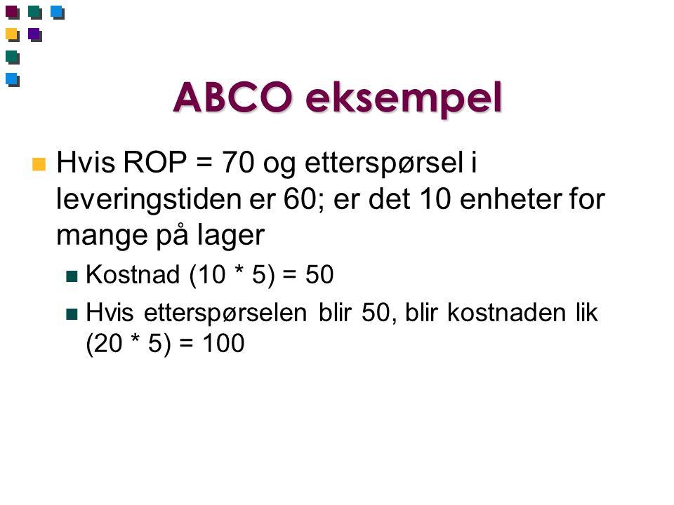 ABCO eksempel n Hvis ROP = 70 og etterspørsel i leveringstiden er 60; er det 10 enheter for mange på lager n Kostnad (10 * 5) = 50 n Hvis etterspørsel