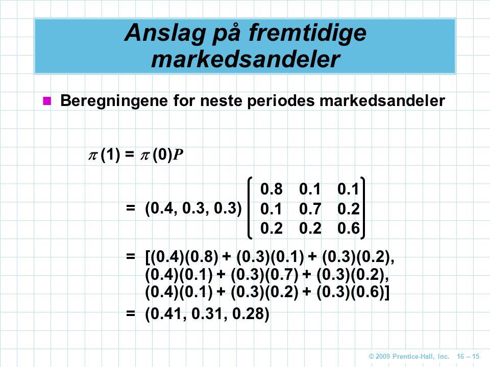 © 2009 Prentice-Hall, Inc. 16 – 15 Anslag på fremtidige markedsandeler Beregningene for neste periodes markedsandeler  (1) =  (0) P =(0.4, 0.3, 0.3)