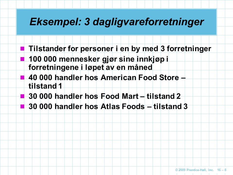 © 2009 Prentice-Hall, Inc. 16 – 8 Eksempel: 3 dagligvareforretninger Tilstander for personer i en by med 3 forretninger 100 000 mennesker gjør sine in