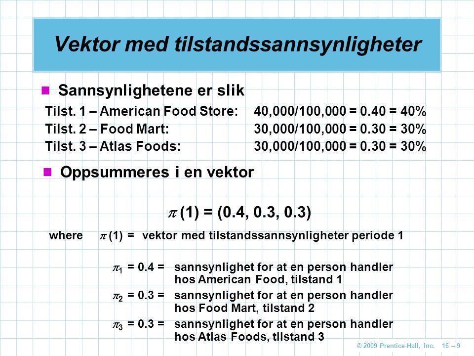 © 2009 Prentice-Hall, Inc. 16 – 9 Vektor med tilstandssannsynligheter Sannsynlighetene er slik Tilst. 1 – American Food Store:40,000/100,000 = 0.40 =
