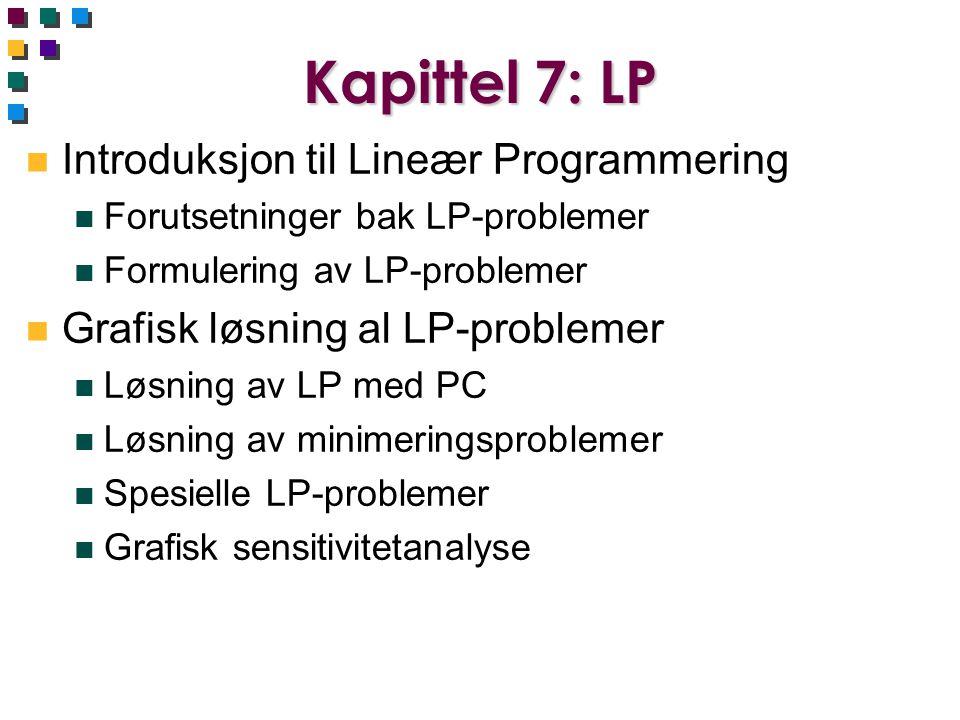 Kapittel 7: LP n Introduksjon til Lineær Programmering n Forutsetninger bak LP-problemer n Formulering av LP-problemer n Grafisk løsning al LP-problem