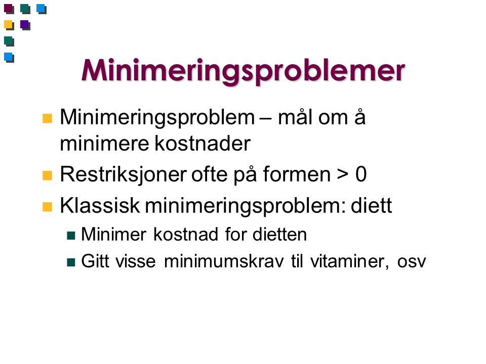 Minimeringsproblemer n Minimeringsproblem – mål om å minimere kostnader n Restriksjoner ofte på formen > 0 n Klassisk minimeringsproblem: diett n Mini