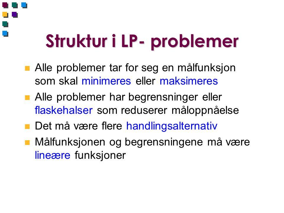 Struktur i LP- problemer n Alle problemer tar for seg en målfunksjon som skal minimeres eller maksimeres n Alle problemer har begrensninger eller flas