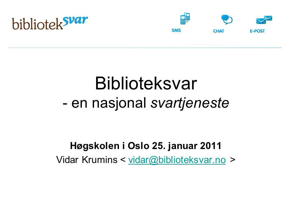 Biblioteksvar - en nasjonal svartjeneste Høgskolen i Oslo 25. januar 2011 Vidar Krumins vidar@biblioteksvar.no