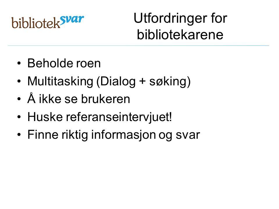 Utfordringer for bibliotekarene Beholde roen Multitasking (Dialog + søking) Å ikke se brukeren Huske referanseintervjuet! Finne riktig informasjon og