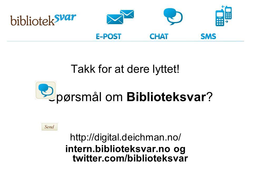 Takk for at dere lyttet! Spørsmål om Biblioteksvar? http://digital.deichman.no/ intern.biblioteksvar.no og twitter.com/biblioteksvar