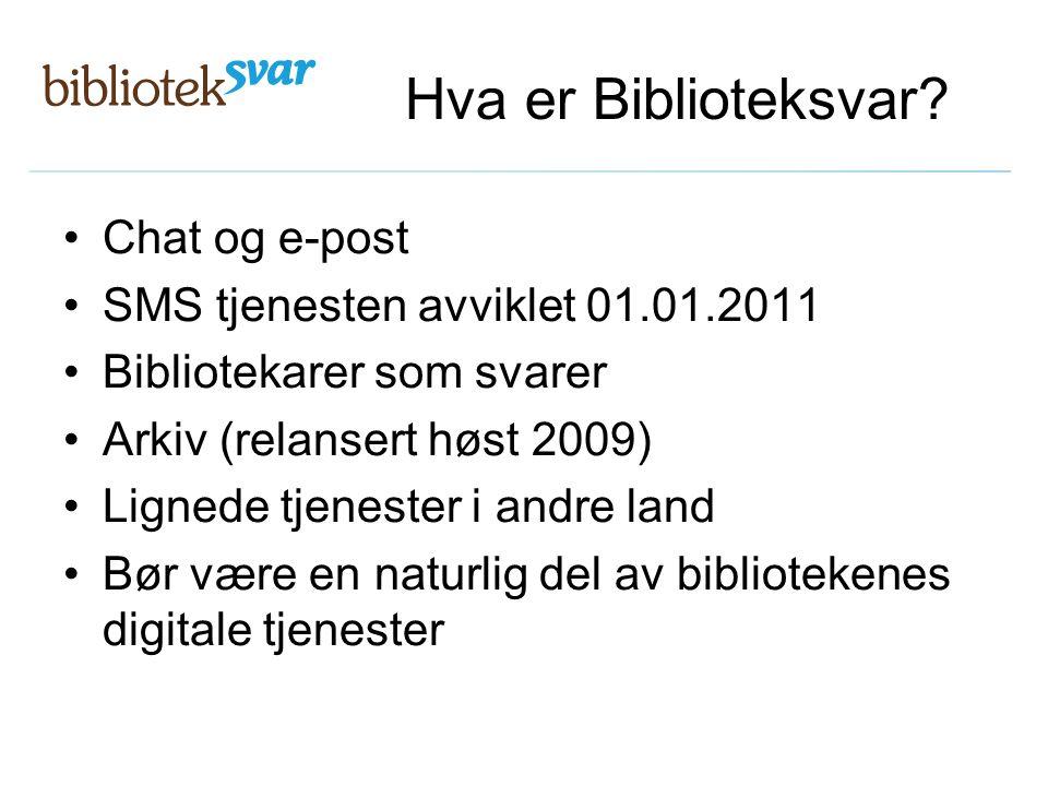 Hva er Biblioteksvar? Chat og e-post SMS tjenesten avviklet 01.01.2011 Bibliotekarer som svarer Arkiv (relansert høst 2009) Lignede tjenester i andre