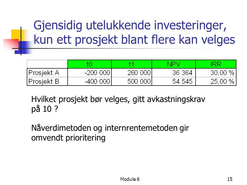 Module 615 Gjensidig utelukkende investeringer, kun ett prosjekt blant flere kan velges Hvilket prosjekt bør velges, gitt avkastningskrav på 10 .