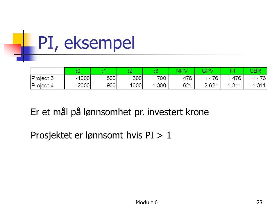 Module 623 PI, eksempel Er et mål på lønnsomhet pr. investert krone Prosjektet er lønnsomt hvis PI > 1