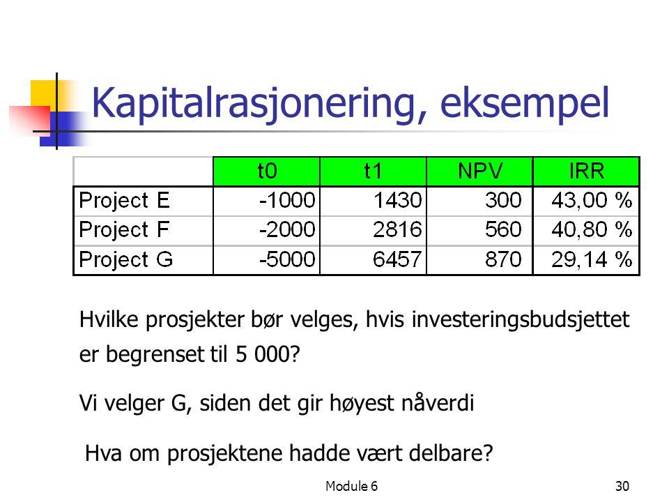 Module 630 Kapitalrasjonering, eksempel Hvilke prosjekter bør velges, hvis investeringsbudsjettet er begrenset til 5 000? Vi velger G, siden det gir h