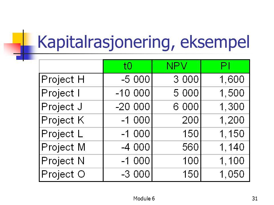 Module 631 Kapitalrasjonering, eksempel