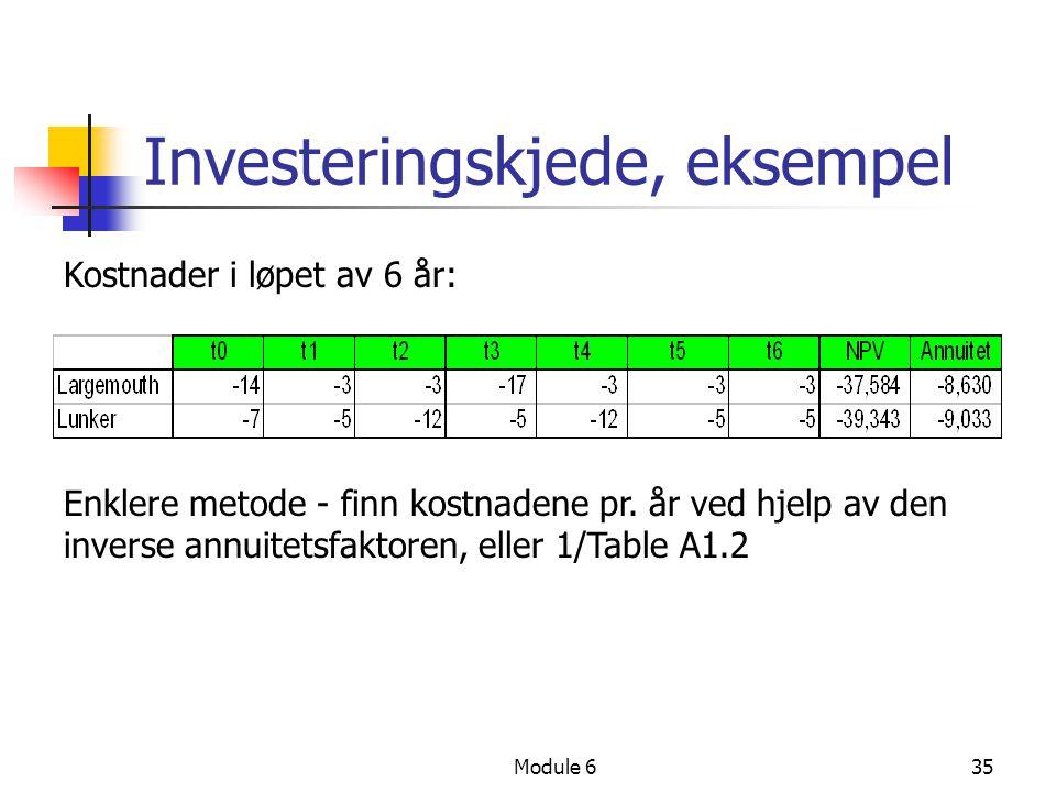 Module 635 Investeringskjede, eksempel Kostnader i løpet av 6 år: Enklere metode - finn kostnadene pr. år ved hjelp av den inverse annuitetsfaktoren,