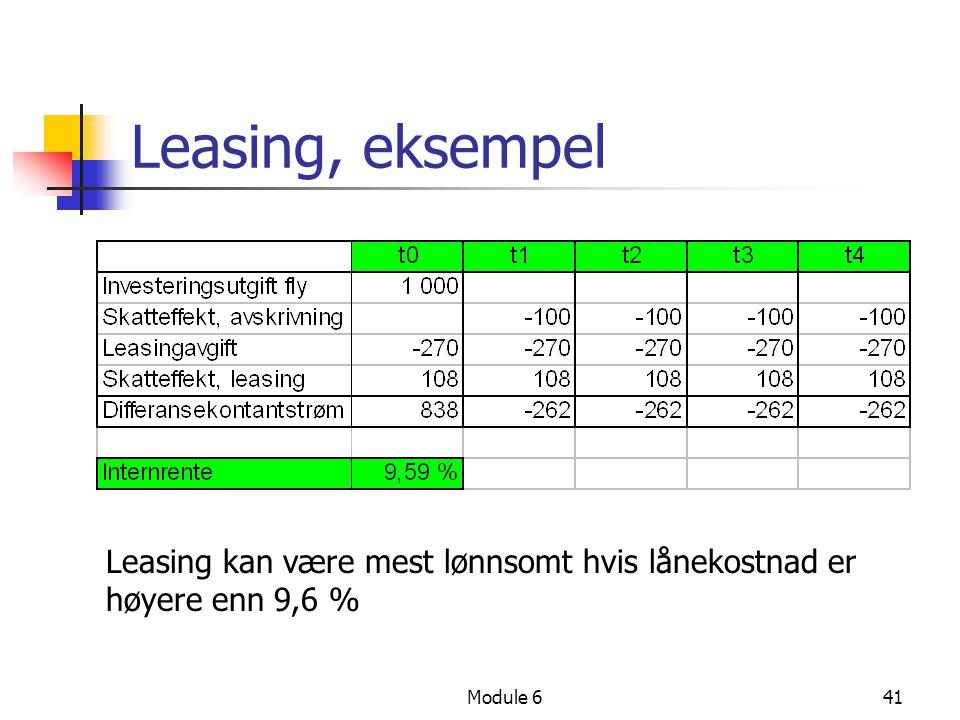 Module 641 Leasing, eksempel Leasing kan være mest lønnsomt hvis lånekostnad er høyere enn 9,6 %