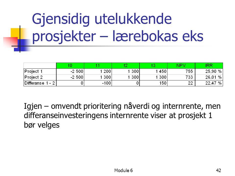 Module 642 Gjensidig utelukkende prosjekter – lærebokas eks Igjen – omvendt prioritering nåverdi og internrente, men differanseinvesteringens internrente viser at prosjekt 1 bør velges
