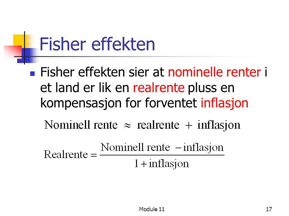 Module 1117 Fisher effekten Fisher effekten sier at nominelle renter i et land er lik en realrente pluss en kompensasjon for forventet inflasjon